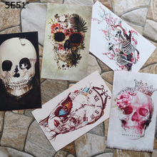 12*20cm Handmade cloth DIY cotton canvas fabric / positioning hand dyed patchwork digital printing skull