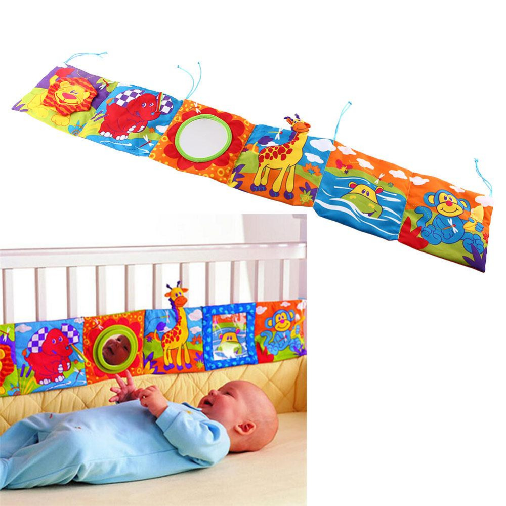 Baby Toys Crib bumper Baby Cloth Book Baby Rattles Knowledge Around Multi-Touch Colorful Bed Bumper for Kids toys 92*14CM