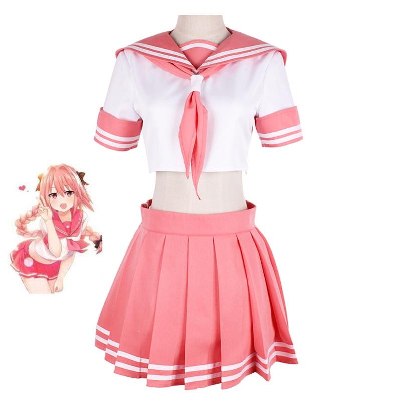 El destino/Gran Orden destino apócrifos jinete Astolfo Cosplay JK uniforme escolar de marinero traje de las mujeres equipo elegante Anime disfraz de Halloween