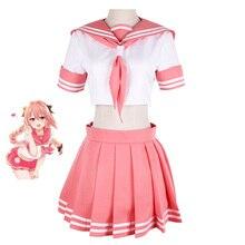 Fate/grand order fate apócripha cavaleiro astolfo cosplay jk uniforme escolar marinheiro terno feminino fantasia roupa anime traje de halloween