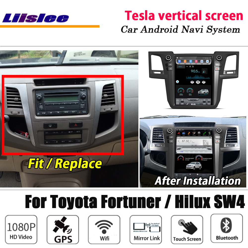 Liislee Android Tesla vertical For Toyota Fortuner Hilux SW4 Stereo Car BT Carplay GPS Navi Map