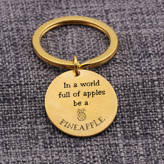 In A World Full Of Apple Be A Pineapple Sweet Lover Keychain Bag Car Key Tag Pendant Key Ring Pineapple Lover Gift For Couples