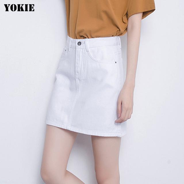 Estilo do verão Denim saias das mulheres Uma Linha de cintura alta algodão botão casual mini saias jeans casuais Branco rosa preto Plus Size S-3XL