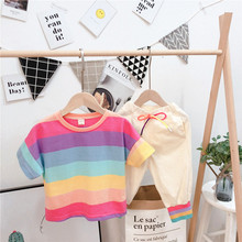 Baby Boys Clothes Set Summer 2019 Teenagers Kids Rainbow Stripe Cotton Tops T Shirts + Pants 2pcs Children's Outfits Sports Suit 1 2 3 4 year boys clothes 2018 new cotton casual kids outfits star shirts stripe pants 2pcs baby children clothing set