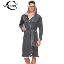 Sleepwear Men Belt Casual Hooded Long Sleeve Patchwork Pocket Bathrobe with Men Night Wear