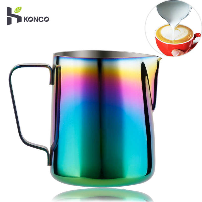 KONCO Milk Frothing Pitcher Stainless Steel, Rainbow Color Custom Coffee Mugs, Milk Steaming Frother For Espresso Machines