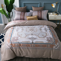 Classic Palace 60S Egypt Cotton Bedding Set Printed Silky Duvet cover Bed Sheet Fitted Sheet Pillowcases Queen King size 4Pcs