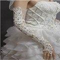 Branco marfim Rhinestone frisada Applique casamento nupcial luvas sem dedos Opera comprimento para noivas nova moda