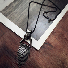 hot deal buy new korea bohemia style women long necklaces high quality alloy  metal tassels necklaces & pendants gunblack garment accessories