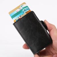 Men Women Credit Card Holder Box PU Leather ID Credit Card Case RFID Aluminum Money Cash