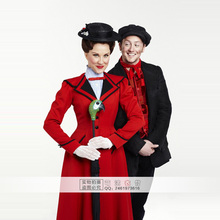 2016 Custimzied Mary Poppins Dress Mary Poppins Cosplay Costume (Men Style Not Included) Shirt+Red Coat+Hat