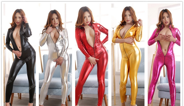5 Colors Sexy Jumpsuit For Women Vinyl Catsuit Women Faux Leather Bodysuit Open Crotch PVC Leotard