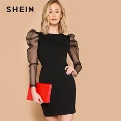 SHEIN Glamorous Black Sheer Contrast Mesh Gigot Sleeve Pencil Plain Slim Dress Women Casual 2019 Summer Puff Sleeve Dresses