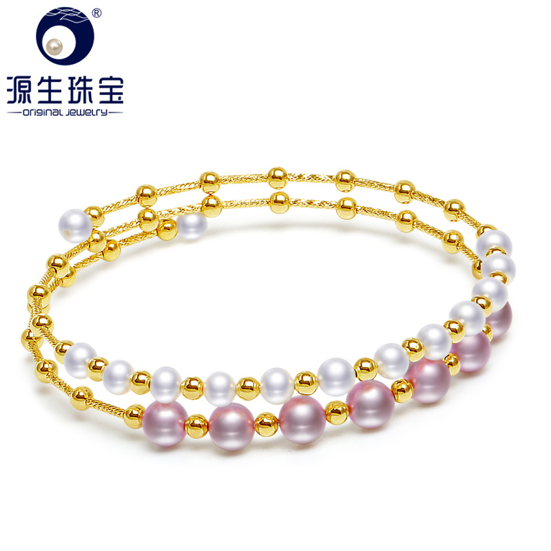 YS 4-6mm Natural White Pearl 925 Sterling Silver Bracelet Chinese Freshwater Fine Jewelry