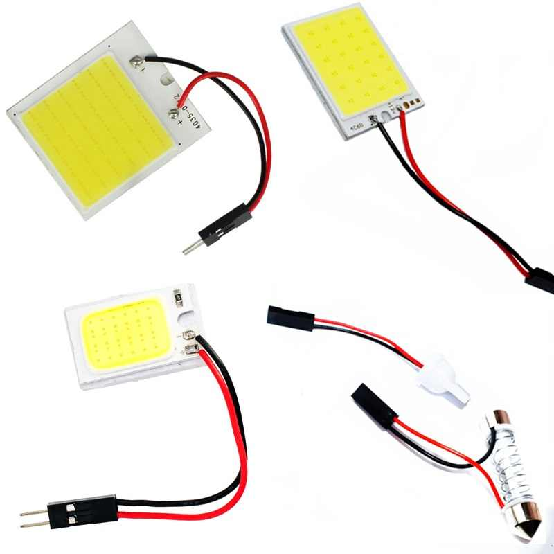1Set 16 24 48 COB LED Panel Super White Car Reading Map Lamp Auto Dome Interior Bulb Roof Light with T10 Adapter Festoon Base