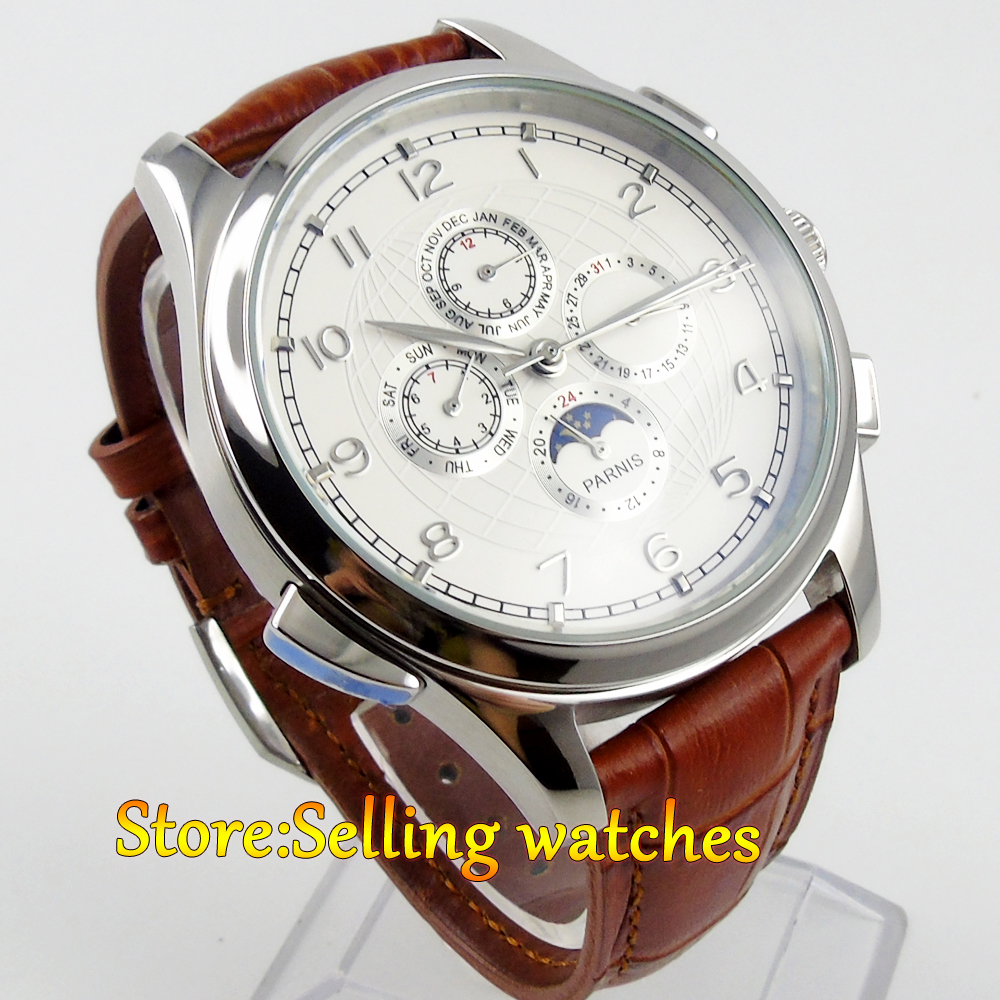 44mm white dial silver numbers parnis automatic movement mechanical multi-function mens watch new arrivel white dial mens automatic skeleton mechanical watch with two movement freeship