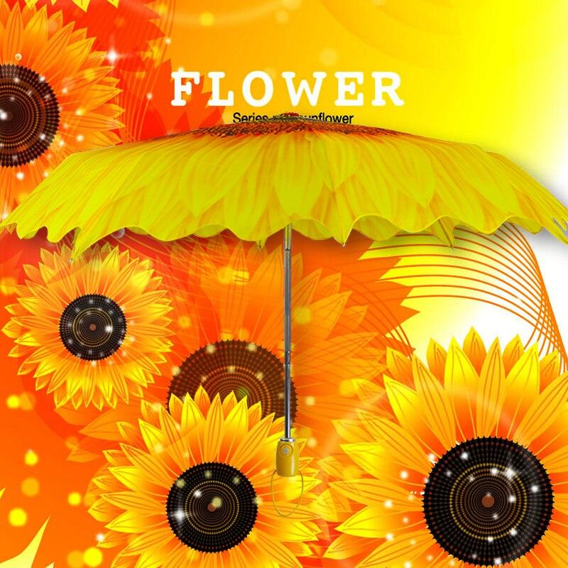 Novelty items Multifunction Fully-automatic brand Fold Anti-UV Sun/Rain flower umbrella women Outdoor Umbrella Parasol