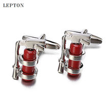 hot deal buy mens jewelry red fire extinguisher cufflinks for mens high quality lepton brand french shirt cuff novelty enamel cuff links