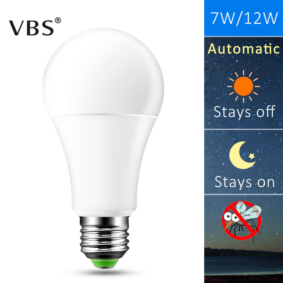 E27 B22 LED Sensor Lamp Bulb Automatic Dusk to Dawn Auto ON/OFF Globe LED Light Bulb For Home Porch Hallway Office 7W 12W цена