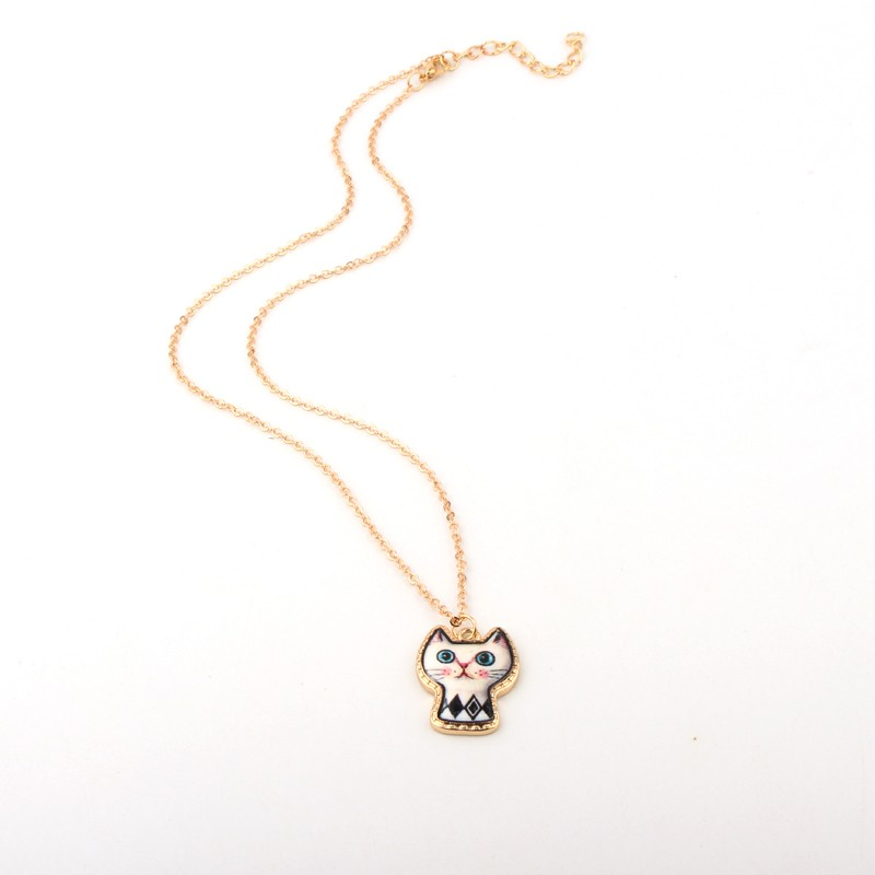 1PC Cute Cartoon Cat Animal Link Chain Necklace Gold Color Enamel Chains Necklaces For Women Jewelry For Child Christmas Gift 4