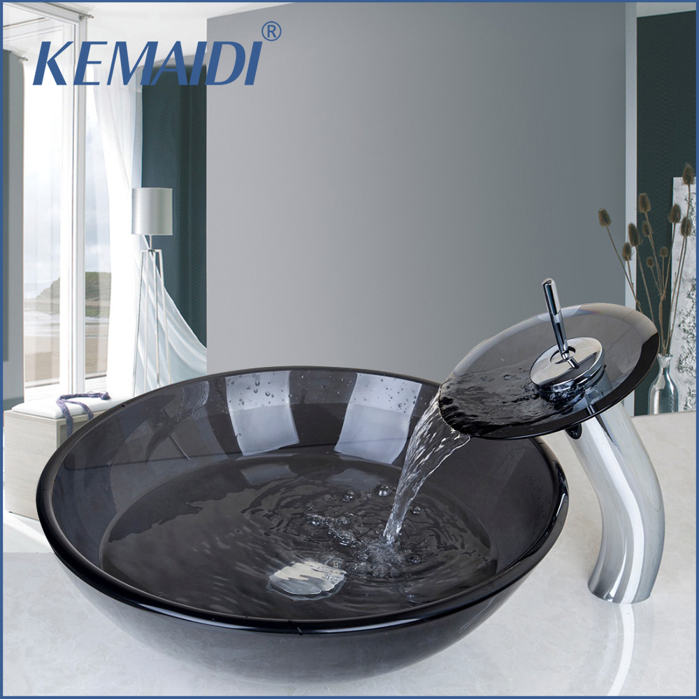 все цены на KEMAIDI Tempered Glass Vessel Faucet Bowl Waterfall Spout Round Sink Bathroom Basin Hot & Cold Water Mixer Tap Counter Top онлайн