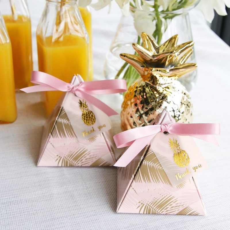 100 個三角錐結婚式用品を好意葉キャンディーボックス感謝カードギフト党包装チョコレートボックス