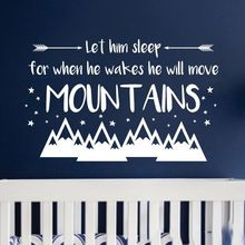 Nursery Boy Wall Decal Quote Vinyl Sticker Let Him Sleep He will Move Mountains Murals Kids Room Decor AY1235