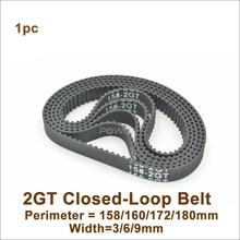 POWGE 158/160/166/170/172/176/180 GT2 зубчатый ремень W = 3/6/9/15 мм 2GT замкнутому циклу синхронного ремня 158-2GT 172-2GT 180-2GT