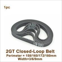 Powge 158/160/166/170/172/176/180 gt2 correia dentada com = 6/9mm 2gt cinto síncrono de circuito fechado 158-2gt 172-2gt 180-2gt