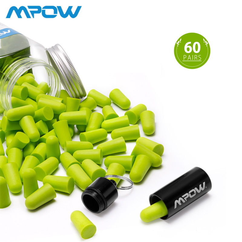 Mpow HP055 60 Pairs Foam Ear Plugs Noise Blocker/Filter Hearing Protector NRR 32dB Noise Reduction With Carrying Case For Sleep(China)