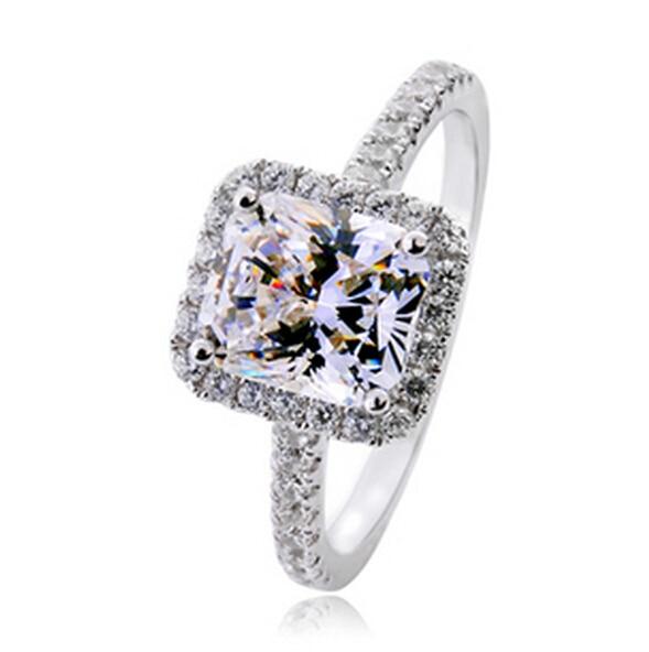 despeje 100% originales ventas especiales 3 carat corte princesa de plata fina sona diamante simulado ...