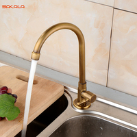 2017 BAKALA New Antique Brass Kitchen Deck Mounted Faucet Tap Swivel Rotation Sink Single Cold Tap