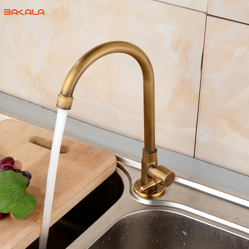 BAKALA New Antique Brass Kitchen Deck Mounted Cheap Faucet Tap Swivel Rotation Sink Single Cold Tap Cold Or Hot Water