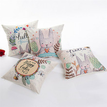 Cute Easter Rabbit Pattern Pillowcase pillow Cover