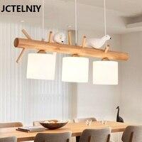 Новый Птица люстра три огни простой современный настольная лампа твердой древесины Ресторан светодиодные люстры