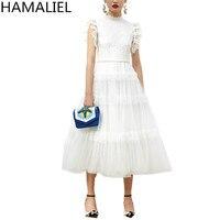 HAMALIEL Elegant Noble Ball Gown Party Women Dress 2018 Summer Designer Lace Patchwork Mesh Puff Sleeve Stand Collar Long Dress