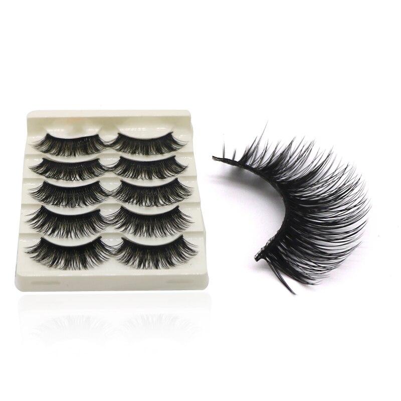 5Pairs Makeup False Eyelashes Semi-Handmade Natural Crisscross Fake Eyelashes Long Eye Lashes Extensions Tools Maquiagem