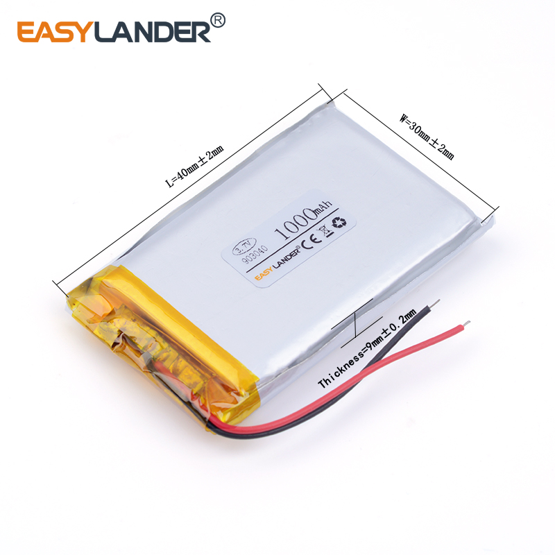 10pcs /Lot 903040 1000mah 3.7V lithium Li ion polymer rechargeable battery For MP5 PSP Bluetooth Earphone medical device mp4 mp5