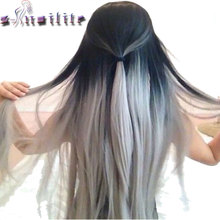 S-noilite 26inch 145g Black to Gray Straight Hair Extentions Clip in on Hair Extension Ombre Hairpiece Synthetic 5 clips ins(China)