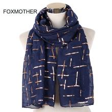 FOXMOTHER Nieuwe Mode Marine Wit Roze Folie Goud Plaid Cross Moslim hijab Sjaals Sjaal Wrap Sjaals Voor Dames Bufanda Echarpe
