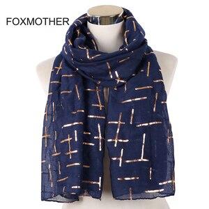 Image 1 - FOXMOTHER Nieuwe Mode Marine Wit Roze Folie Goud Plaid Cross Moslim hijab Sjaals Sjaal Wrap Sjaals Voor Dames Bufanda Echarpe