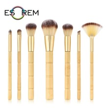 ESOREM 7pcs Bamboo Joint Wood Handle Makeup Brushes Tapered Blush Dense Fan Contour Brush Set Pinceaux Maquillage