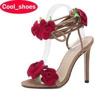 Plus Größe 35-40 Sexy Peep Toe High Heels Sommer Sandalen Neue Rote Rose Lace Up Stiletto Pumps Schuhe frauen 549