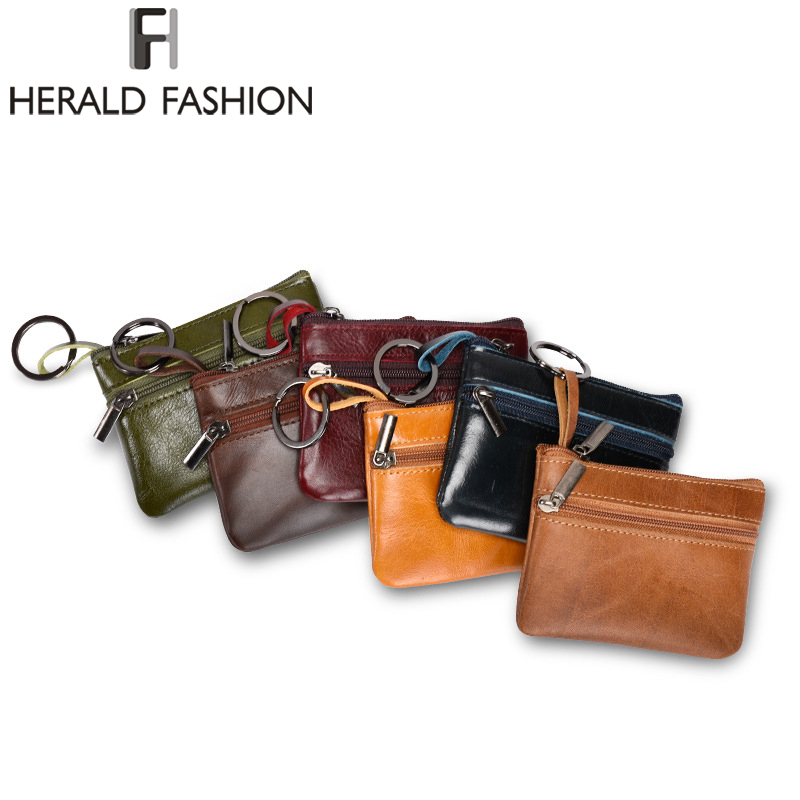 Herald Fashion Quality Genuine Leather Women font b Wallet b font Female Cow Spilit Leather Mini