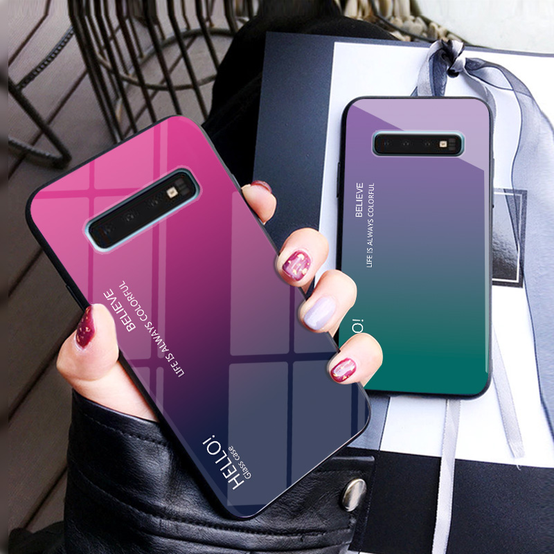 Image 2 - Gradient Tempered Glass Phone Case For Samsung Galaxy S10 Lite S8 S9 Plus S7 edge Colorful Cover For Samsung Note 8 9 M20 Case-in Fitted Cases from Cellphones & Telecommunications