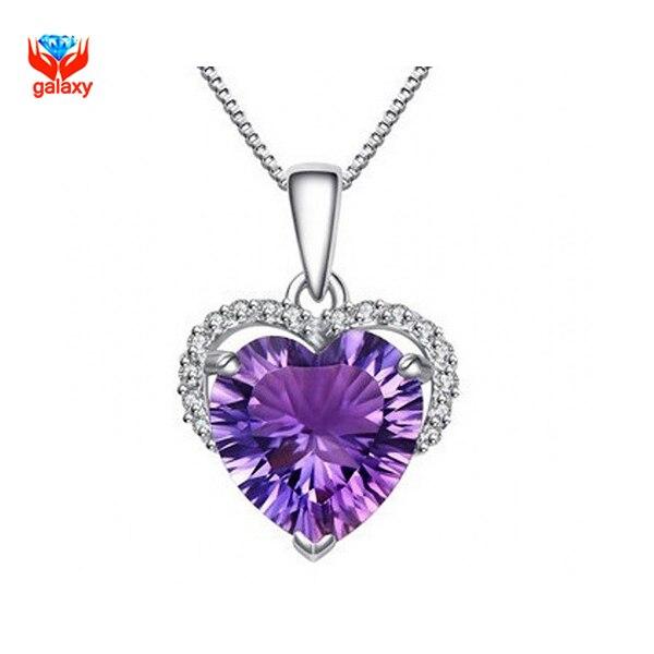 Галактики имеют сертификат действительно 925 серебряное ожерелье в форме сердца фиолетовый CZ ожерелье для женщин ювелирные изделия YN132