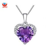 Galaxy tienes certificado realmente plata 925 collar del corazón púrpura de la CZ pendiente de la boda collar de collar de mujer joyería YN132