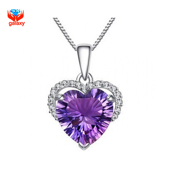 GALAXY Have Certificate Really 925 Sterling Silver Necklace Heart Purple CZ Wedding Pendant Necklace for Women Jewelry YN132