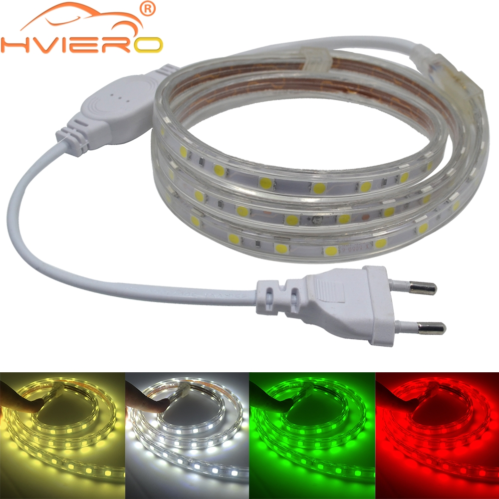 Waterproof 5050 Tape Light: Waterproof 5050 SMD Led Tape AC 220V Flexible Led Strip
