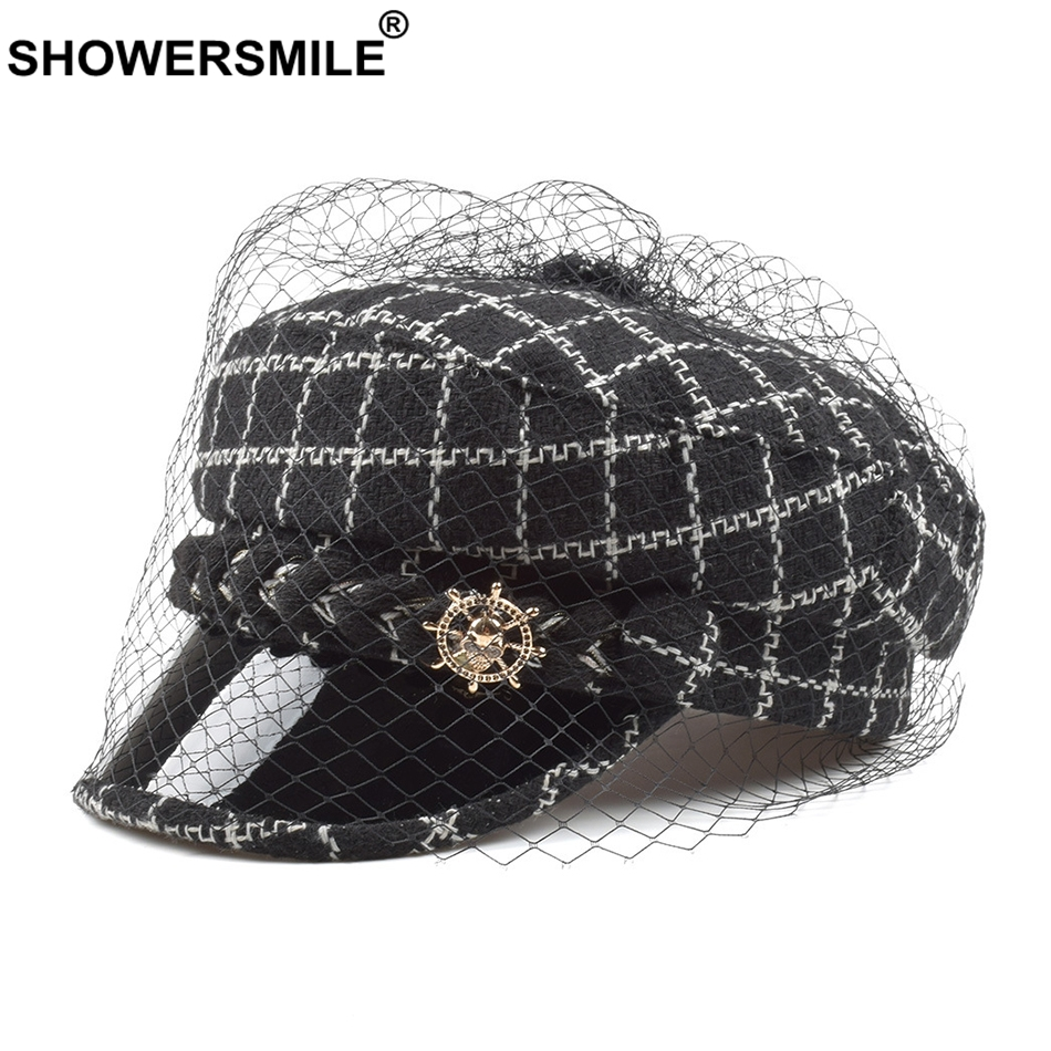 SHOWERSMILE Tweed Cap Newsboy For Women Black Baker Boy Hats With Veil  Elegant Winter Sailor Cap Newspaper Ladies Painters Caps 662051912a9